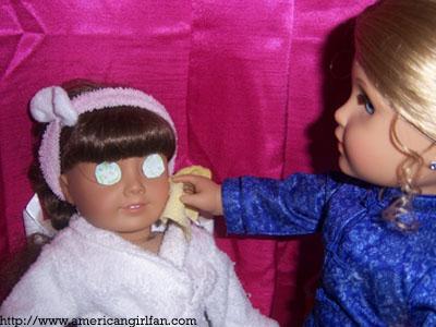 Wiping Molly's face..