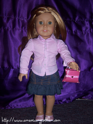 Mia with her purse