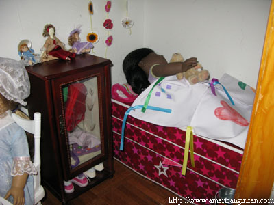 The bedroom and dresser