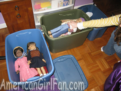 Dolls in bins 1