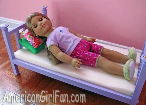 Elizabeth lying on the mattress