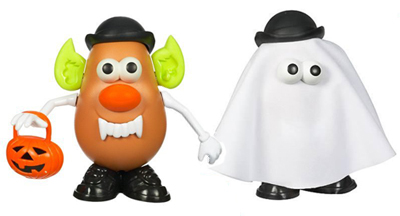 parts for both costumes come together in one set it amazes me how many different themed mr potato heads there are now after halloween is over