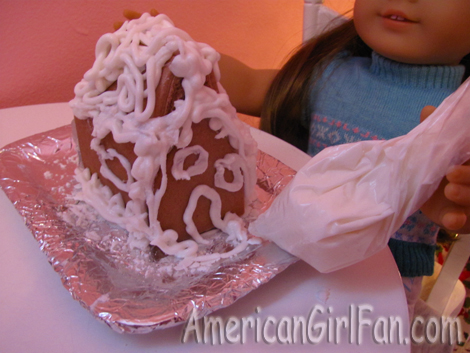 Felicity icing gingerbread house