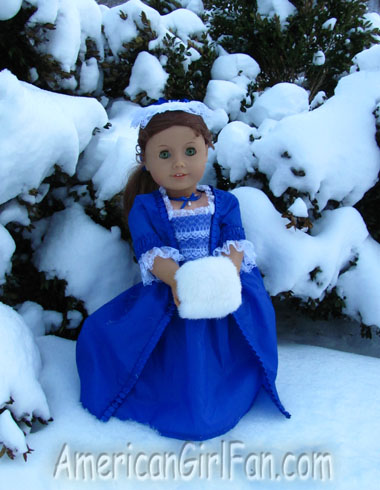 Felicity with snowy trees