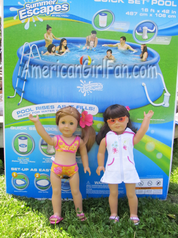 Mia and Samantha next to pool box