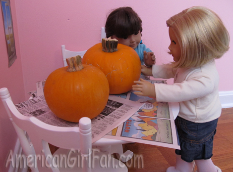Setting down pumpkins d