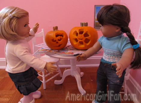 Showing each other pumpkins