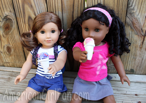 Rebecca and Cecile eating snocones