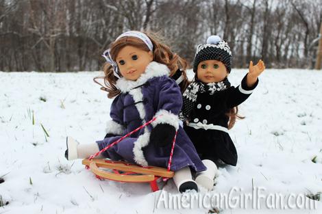 Rebecca and Felicity sledding