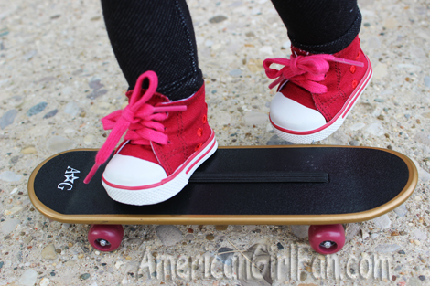 Shoes with skateboard
