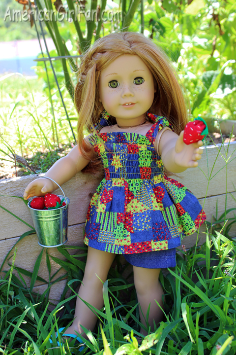 Mia with strawberries