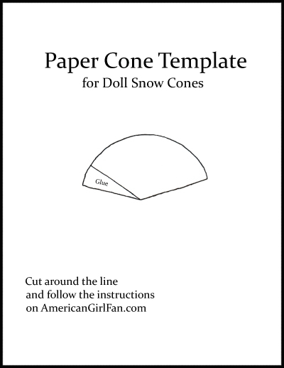 Paper Cone Template for AG Doll Snow Cones