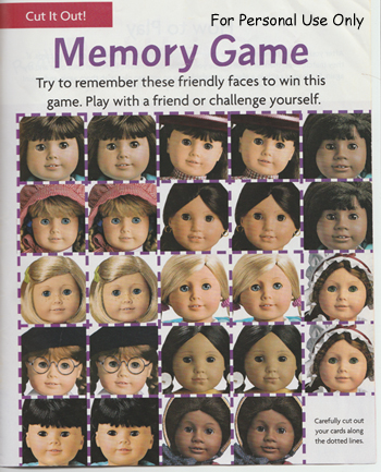 American Girl Doll Matching Game jpeg
