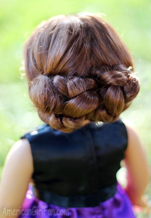 Super Doll Hairstyle Fancy Braided Bun Updo Americangirlfan Hairstyles For Women Draintrainus