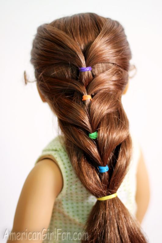 Doll Hairstyle: Rainbow French Ponytail (AmericanGirlFan)