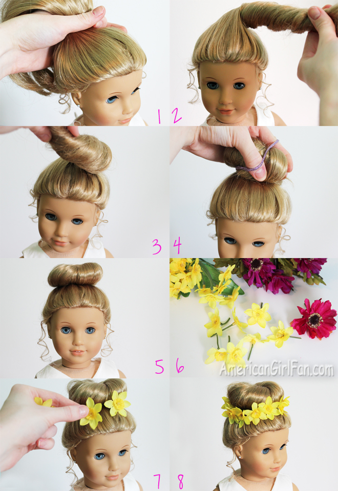 Doll Hairstyle Bun With Flower Crown Americangirlfan