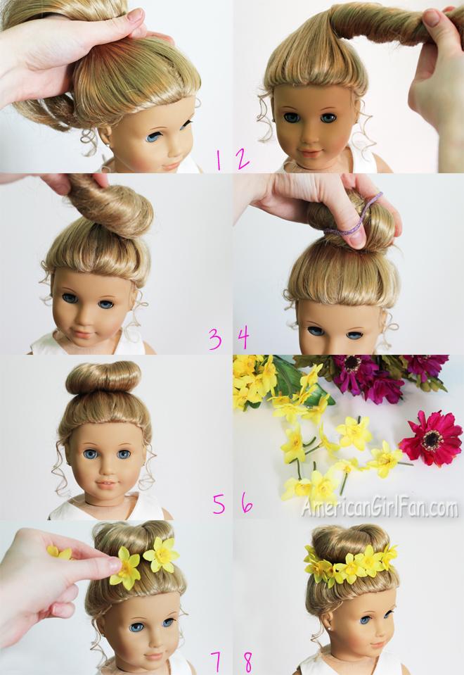 Enjoyable Doll Hairstyle Bun With Flower Crown Americangirlfan Hairstyles For Women Draintrainus