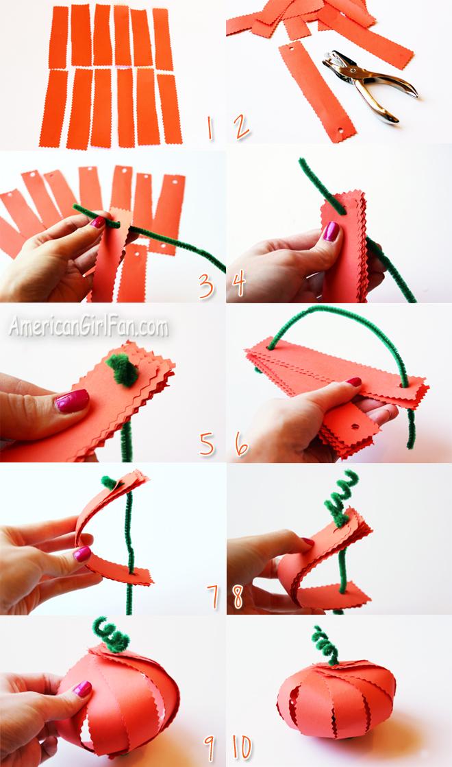 Steps To Make A Paper Pumpkin (via AmericanGirlFan.com click through for tutorial)