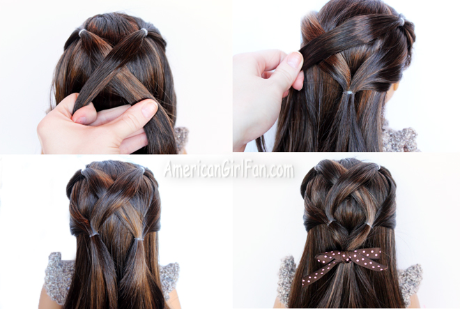 Doll Hairstyle CrissCross Ponytail Veil AmericanGirlFan - Doll hairstyles for grace
