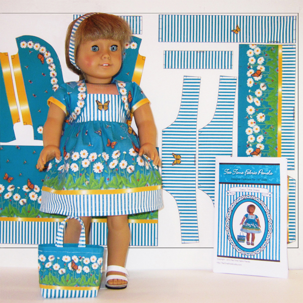 Tea Time Fabric Panels Daisy Doll and Panel