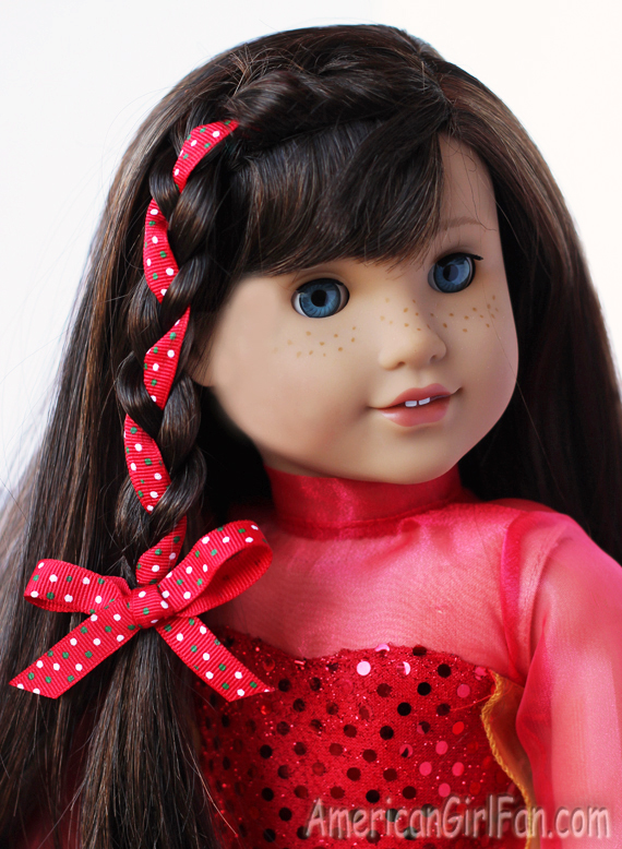 Doll Hairstyle Side Braid With Christmas Ribbon AmericanGirlFan - Doll hairstyles for grace