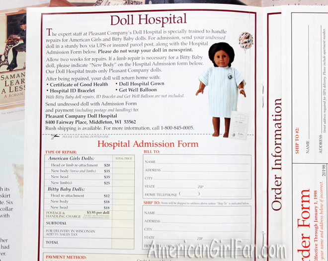 AmericanGirlFan American Girl Catalogs - Free invoice templates pdf american girl doll store online