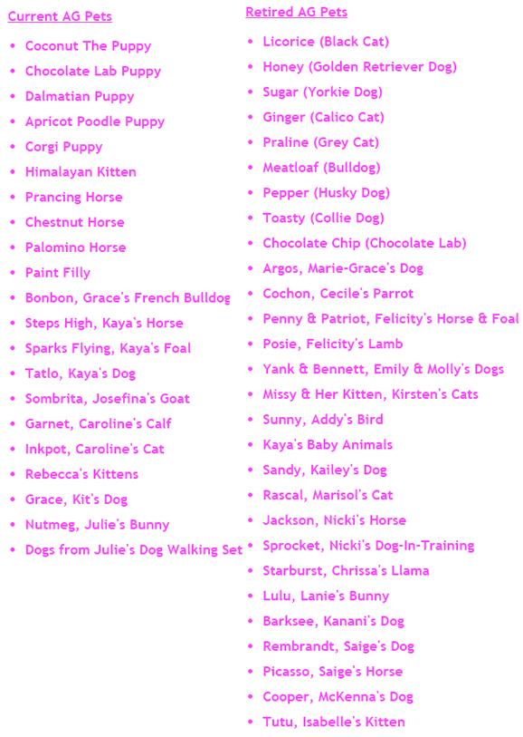 American Girl Doll Pet List