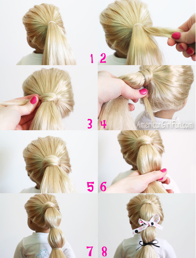 First Gather All Your Dolls Hair Into A High Ponytail 2 Take Small Section From The Side Of 3 Wrap Around Tie 4