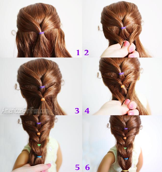 Doll Hairstyle Rainbow French Ponytail Americangirlfan