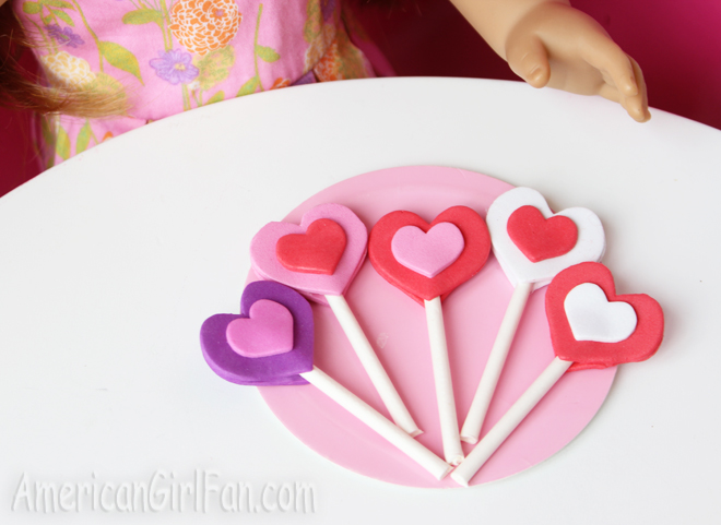 American Girl Doll Valentine's Day Lollipop Craft