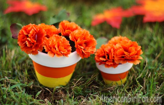 American Girl Doll Craft Candy Corn Flower Pot