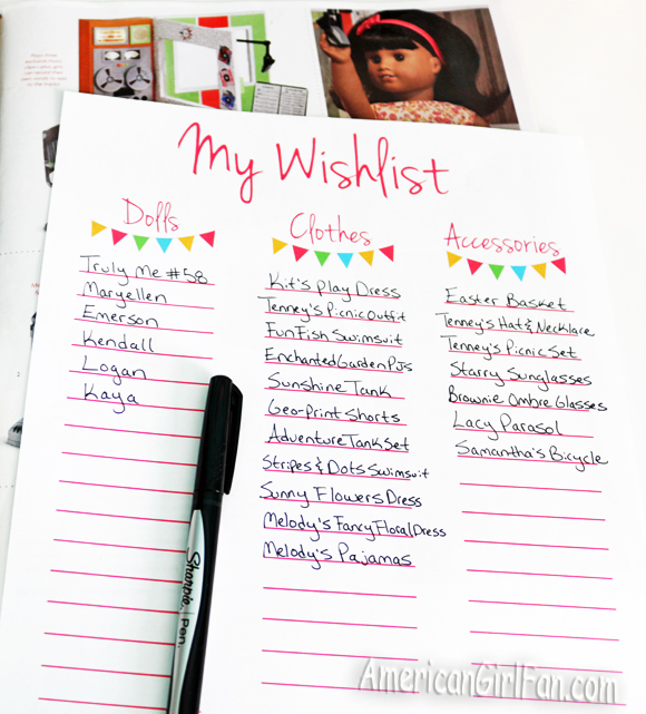 photograph regarding Wish List Printable identify Retail store Enhance: American Lady Doll Wishlist Printables