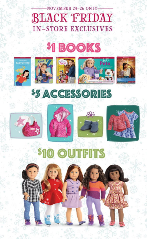 From today until Sunday, AG has $1 books, $5 accessories and $10 outfits at their stores for Black Friday! The doors will open at 8 am local time for every stor.