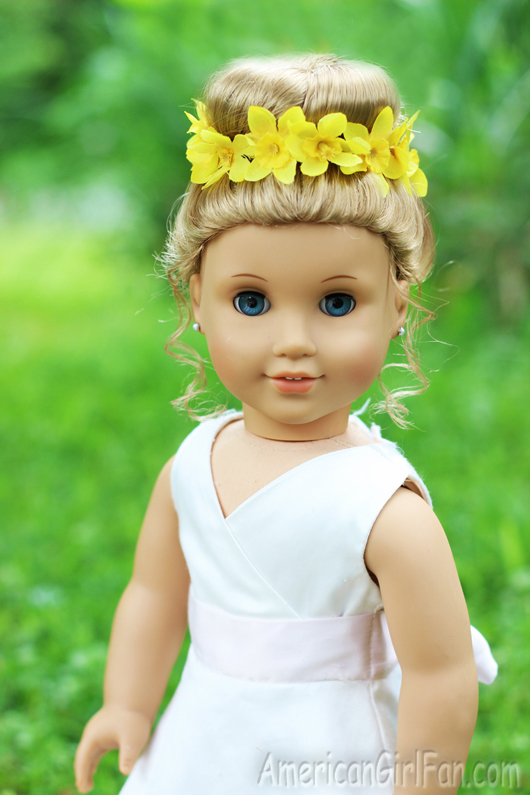 Outstanding Doll Hairstyle Bun With Flower Crown Americangirlfan Hairstyles For Women Draintrainus