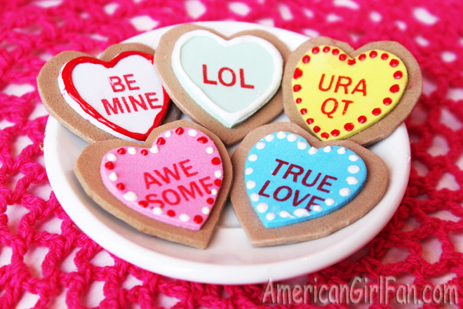 American Girl Doll Conversation Heart Cookies