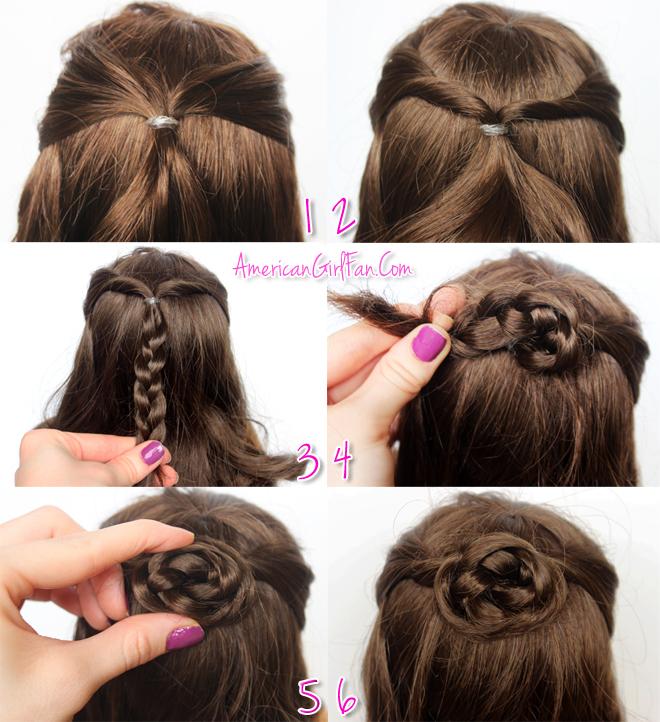 American Girl Doll Hairstyle Half-Up Braided Bun