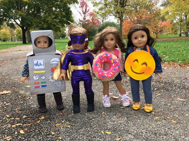 From Cloudy--Here are my dolls Luna Joanna Dahlia and Holly in their homemade Halloween costumes (Robot Batgirl Donut and Emoji).  sc 1 st  AmericanGirlFan & Entries Of The Doll Costume Photo Contest 2016! (AmericanGirlFan)