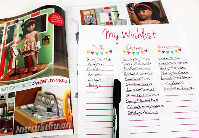 American Girl Doll Wishlist Printable
